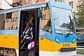 Tram in Sofia near Russian monument 034.jpg