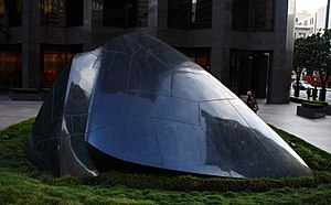 "555 California Street - Masayuki Nagare's sculpture Transcendence, locally referred to as ""Banker's Heart""."