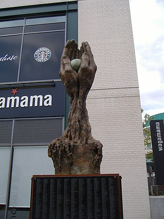 Birmingham Blitz - The Tree of Life memorial dedicated to the victims of the Blitz in Birmingham. Sculpted by Lorenzo Quinn, it was unveiled in the Bull Ring by Councillor John Hood on 8 October 2005.