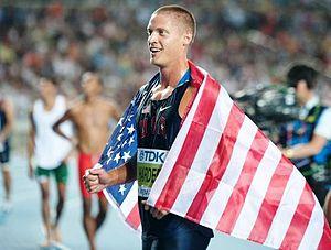 2011 World Championships in Athletics – Men's decathlon - Trey Hardee celebrating in Daegu