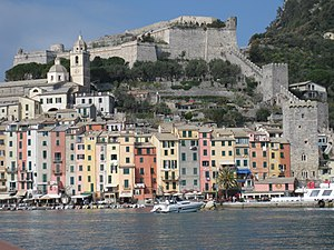 Doria (family) - The Doria Castle (up in the photo) in Portovenere