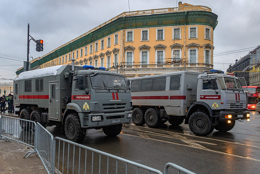 Trucks of the National Guard during protests. Saint Petersburg, 23 January 2021.jpg
