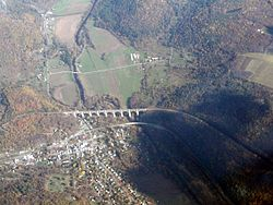 Overhead view of Nicholson and Tunkhannock Viaduct