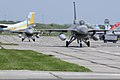 Two Air National Guard F-16C Fighting Falcon aircraft taxi down the flight line at Mirgorod Air Base, Ukraine, July 19, 2011, preparing to take off for an air sovereignty mission during Safe Skies 2011 110719-F-DQ783-059.jpg
