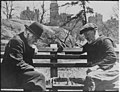 Two oldtimers playing chess on a Central Park bench in New York City, 05-1946 - NARA - 541889.jpg