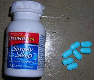 Sleep induction - Sleeping pills utilizing diphenhydramine