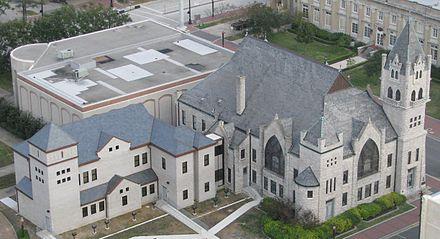 Built in 1903 as First Baptist Church, this building is now Tyrrell Historical Library; a 2010 addition stands on the left Tyrrelllibrarycrop.jpg