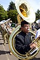 U.S. Navy Musician 3rd Class Justin Lerma, with the U.S. Naval Forces Europe Band, plays the sousaphone during a rehearsal for the Royal Edinburgh Military Tattoo in Edinburgh, Scotland, July 31, 2012 120731-N-VT117-1257.jpg