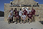 U.S. Soldiers with Charlie Company, Headquarters and Headquarters Battalion, 4th Infantry Division pose with Florida State football t-shirts at Kandahar Airfield in Kandahar province, Afghanistan, Oct. 3, 2013 131003-A-RY828-001.jpg