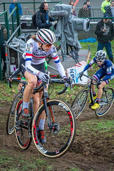 Helen Wyman (GBR), British national champion, of Kona Factory Racing. UCI Cyclocross World Cup, Heusden-Zolder, Belgium, 2015.