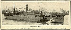 Union of Russian Workers - The United States Transport Buford, which deported 249 non-citizen immigrant political prisoners in December 1919.