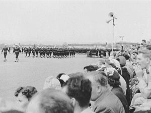 United States Naval Training Center, Bainbridge - USNTC Bainbridge seaman recruits performing final graduation exercises (1954).