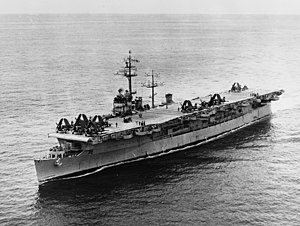 USS Bataan (CVL-29) - Image: USS Bataan (CVL 29) underway at sea in January 1952
