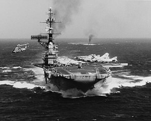 USS Franklin D. Roosevelt (CVA-42) underway in the Gulf of Tonkin on 19 October 1966.jpg