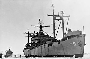 USS Mount Olympus moored in Antarctica c1947