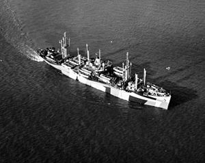 Starboard aerial bow view of USS Mountrail (APA-213) under way off the coast of California, 5 December 1944. US navy photo 80-G-289784 photographed by Naval Air Station Alameda, California, aircraft, now in the collections of the US National Archives.