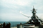 USS Wisconsin (BB-64) launching Tomahawk