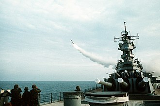 AN/SPQ-9 - Image: USS Wisconsin (BB 64) launching Tomahawk