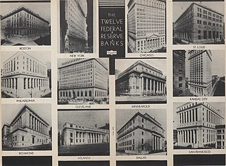 Federal Reserve System - The twelve Reserve Banks buildings in 1936