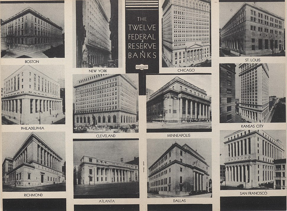 US Federal Reserve Banks collage 1936