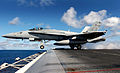 US Navy 031116-N-6213R-071 An F-A-18C Hornet assigned to the Fist of the Fleet of Strike Fighter Squadron Two Five (VFA-25) launches from one of four steam powered catapults aboard USS John C. Stennis (CVN 74).jpg