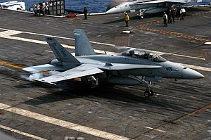 2012 Virginia Beach F/A-18 crash - F/A-18D AD-405. Sister ship of incident aircraft makes an arrested landing on the flight deck of USS John F. Kennedy (CV-67), September 21, 2005.