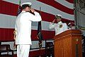 US Navy 060520-N-7427G-002 Cmdr. John Wadsworth salutes Cmdr. W. F. Moore during a change of command ceremony held aboard Naval Air Station Joint Reserve Base, New Orleans.jpg