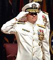 US Navy 060629-N-0322F-011 Rear ADM. Jeffrey L. Fowler salutes the troops at the Change of Command ceremony for Commander, Navy Recruiting Command held at the Pat Thompson Cente.jpg