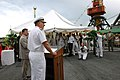 US Navy 070712-N-7434C-049 Vice Adm. John Stufflebeem, commander of U.S. 6th Fleet, addresses the crowd during his opening remarks at a reception aboard guided-missile destroyer USS Donald Cook (DDG 75).jpg