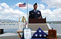 US Navy 080819-N-7974M-006 U.S. Air Force Master Sgt. Jeff Wheeler speaks during a scattering of ashes ceremony honoring his grandfather and Pearl Harbor survivor, Major Wheeler.jpg