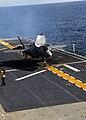 US Navy 111003-N-ZZ999-004 An F-35B Lightning II makes the first vertical landing on a flight deck at sea aboard the amphibious assault ship USS W.jpg