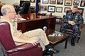 US Navy 111104-N-NR998-002 Rear Adm. Bob Hennegan, commander of Submarine Group 9, meets with Master Chief Petty Officer of the Navy (MCPON) Rick W.jpg