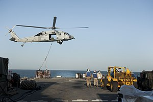 US Navy 120129-N-KS651-032 An MH-60S Sea Hawk helicopter assigned to Helicopter Sea Combat Squadron (HSC) 12 delivers cargo to the flight deck of t.jpg
