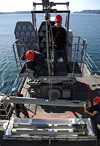US Navy 120130-N-LP801-033 Sailors assigned to the amphibious dock landing ship USS Germantown (LSD 42) load the ship's RIM-116 Rolling Airframe Mi.jpg