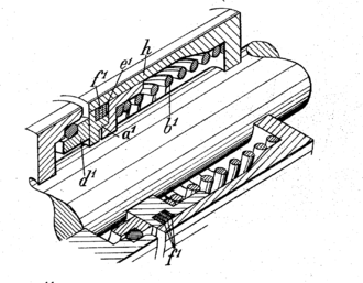 End face mechanical seal - Elements d1 and a1 bear and slide on each other, creating a seal at their interface. One group of parts is connected to the rotating shaft and the other to the machine's case. The spring keeps the elements tight against each other, maintaining the seal and allowing for wear.