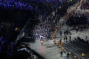 2015 Pan American Games opening ceremony - The US contingent for the 2015 Pan Am games shown entering the stadium during the opening ceremonies