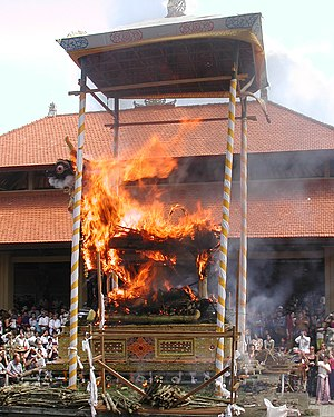 Antyesti - Cremation of the dead by Hindus in Ubud, Bali Indonesia.
