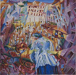 Umberto Boccioni, 1911, The Street Enters the House, oil on canvas, 100 x 100.6 cm, Sprengel Museum.jpg