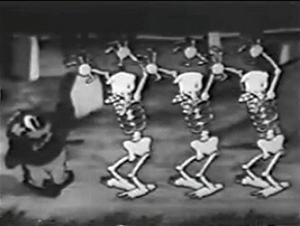 Hittin' the Trail for Hallelujah Land - Uncle Tom is terrorized by skeletons in a scene reminiscent of Walt Disney's 1929 film The Skeleton Dance.