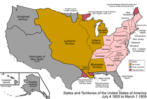 Organized incorporated territories of the United States - Political changes in the continental west and the Louisiana Country of the young United States in 1805–1809 after the Louisiana Purchase was ratified in October 1803.