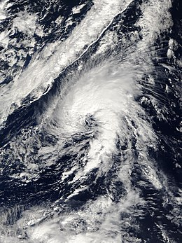 View of the storm from Space on October 4, 2005. Though located over the open Atlantic Ocean and middle east, the Azores are visible on the northern side of the image.