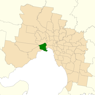 Electoral district of Williamstown - Location of Williamstown (dark green) in Greater Melbourne