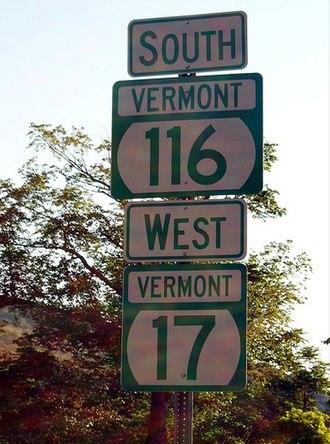 Vermont Route 116 - VT 116 and VT 17 reassurance shields through Bristol
