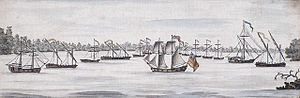 USS Philadelphia (1776) - Contemporary watercolor depicting the American line of battle