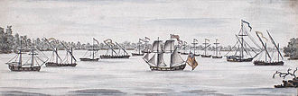 "Galley - Watercolor of United States ships at the battle of Valcour Island, depicting several ""row galleys""; similar function, but based on very different designs than Mediterranean galleys."