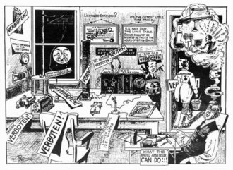 Everything which is not forbidden is allowed - A cartoon in Hugo Gernsback's Electrical Experimenter lampooning proposed regulations to make radio a monopoly of the US Navy.