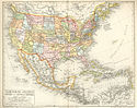 Historical map of the USA, Mexico and Central-America