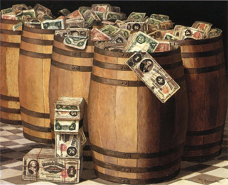 File:Victor Dubreuil - Barrels on Money, c. 1897 oil on canvas.jpg