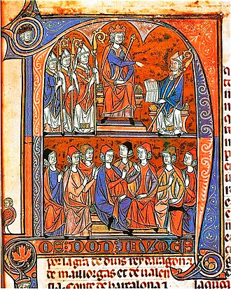 "Fuero - King James I of Aragon receives from Vidal de Canyelles, Bishop of Huesca, the first compilation of the Furs d'Aragó (the ""Fueros of Aragon""), 1247"
