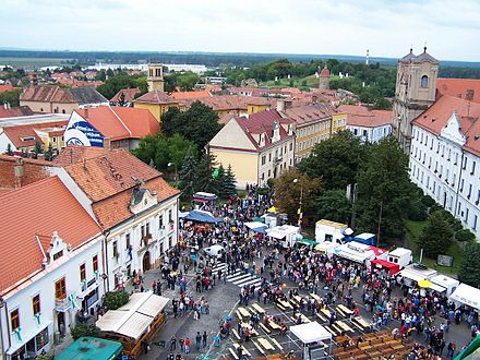 The historical town of Skalica in Slovakia View from tower of church st michal during skalica days.JPG